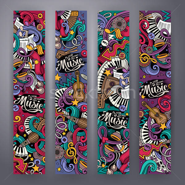 Foto stock: Desenho · animado · musical · banners · colorido · vetor