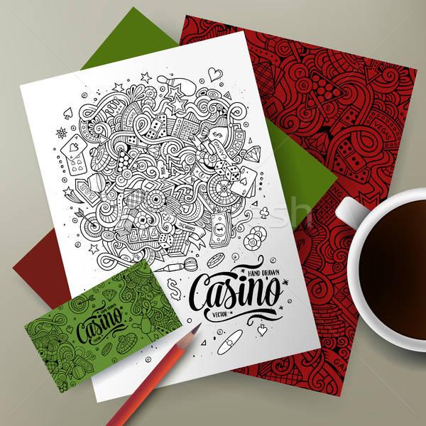 Cartoon vector doodles Casino corporate identity set Stock photo © balabolka
