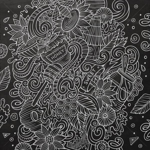 Foto stock: Desenho · animado · bonitinho · mel · ilustração