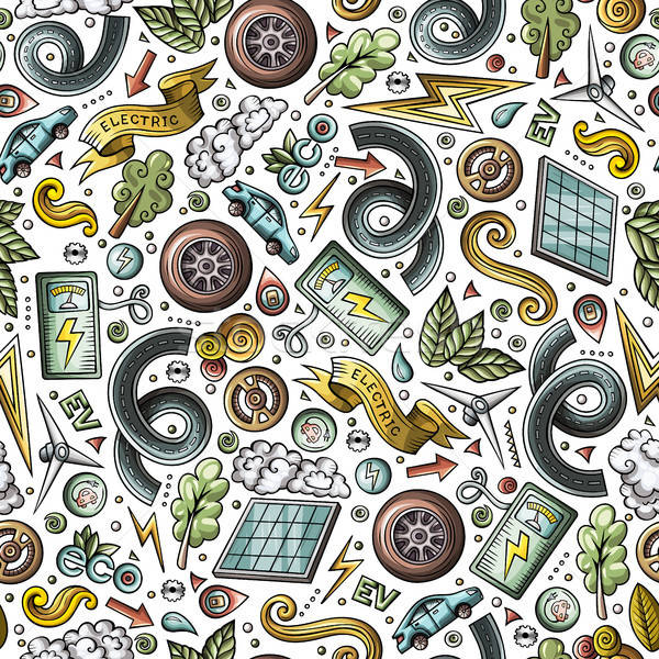 Cartoon cute hand drawn electric cars seamless pattern Stock photo © balabolka