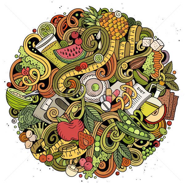 Cartoon vector doodles Diet food illustration Stock photo © balabolka