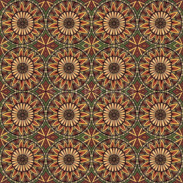 Abstract vector tribal ethnic background seamless pattern Stock photo © balabolka