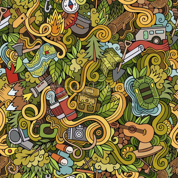 Cartoon vector garabatos camping dibujado a mano Foto stock © balabolka
