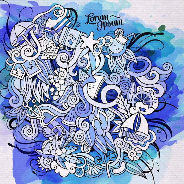 Stock photo: Summer doodles elements watercolor art background. Vector illust