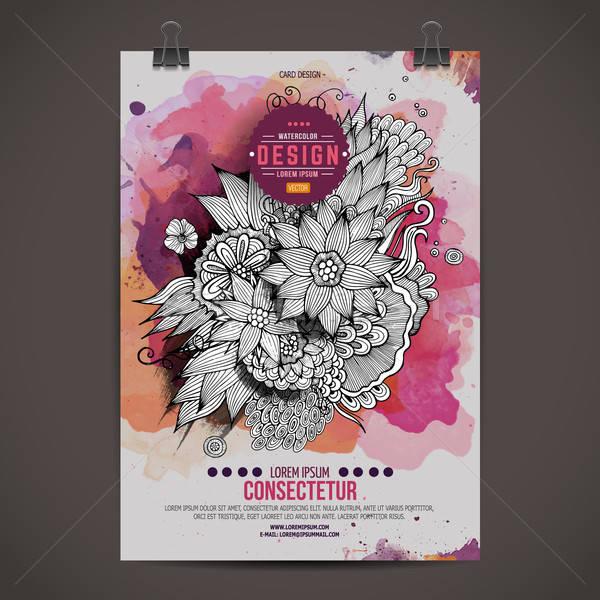 Wektora akwarela farby kwiatowy plakat szablon Zdjęcia stock © balabolka