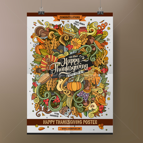 Doodles cartoon colorful Happy Thanksgiving poster Stock photo © balabolka