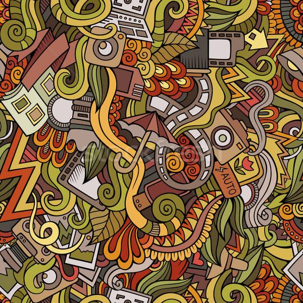 Cartoon hand-drawn doodles photography seamless patterns Stock photo © balabolka