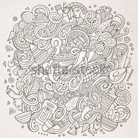 Cartoon hand-drawn doodles hippie illustration Stock photo © balabolka