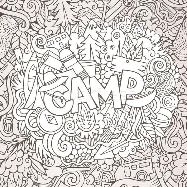 Cartoon sketchy cute doodles hand drawn illustration. Stock photo © balabolka