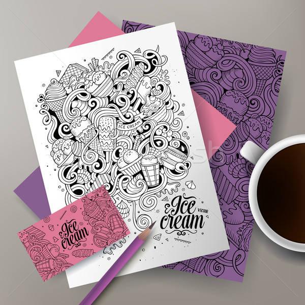 Cartoon line art vector doodles ice cream corporate identity Stock photo © balabolka