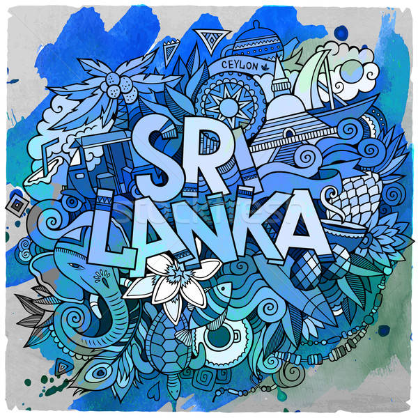 Cartoon vector hand drawn doodle Sri Lanka illustration. Stock photo © balabolka