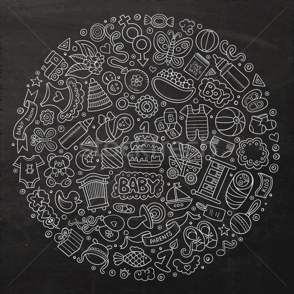 Set of Baby cartoon doodle objects Stock photo © balabolka