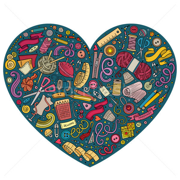 Colorful vector set of Handmade cartoon doodle objects, symbols and items Stock photo © balabolka