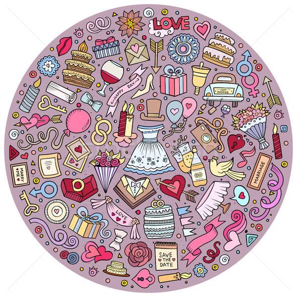 Conjunto casamento desenho animado rabisco objetos colorido Foto stock © balabolka