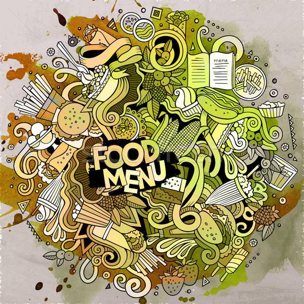 Cartoon cute doodles hand drawn Fastfood illustration Stock photo © balabolka