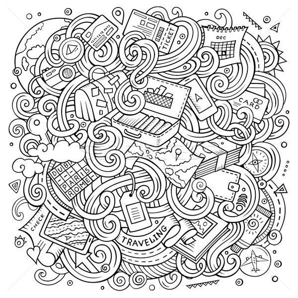 Rajz aranyos firkák utazó illusztráció kézzel rajzolt Stock fotó © balabolka