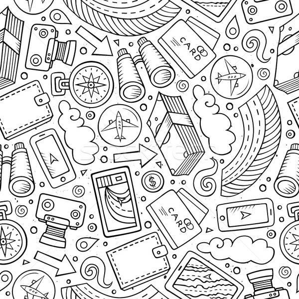 Rajz utazó végtelen minta tárgyak aranyos kézzel rajzolt Stock fotó © balabolka