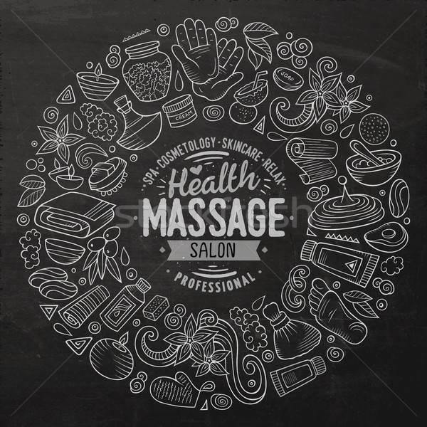 Stockfoto: Vector · ingesteld · massage · cartoon · doodle · objecten