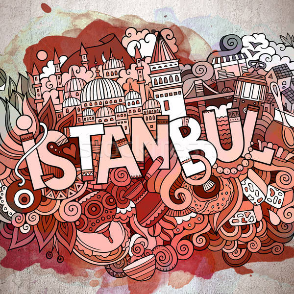 Cartoon cute doodles hand drawn Istanbul inscription Stock photo © balabolka