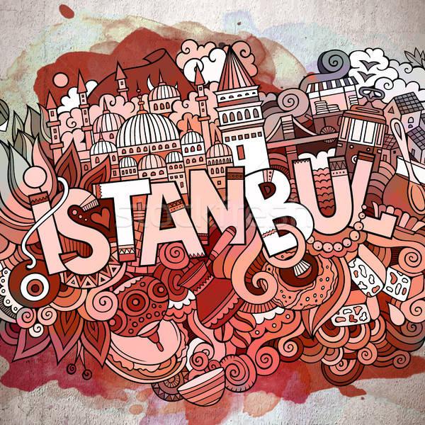 Cartoon cute istanbul opschrift Stockfoto © balabolka