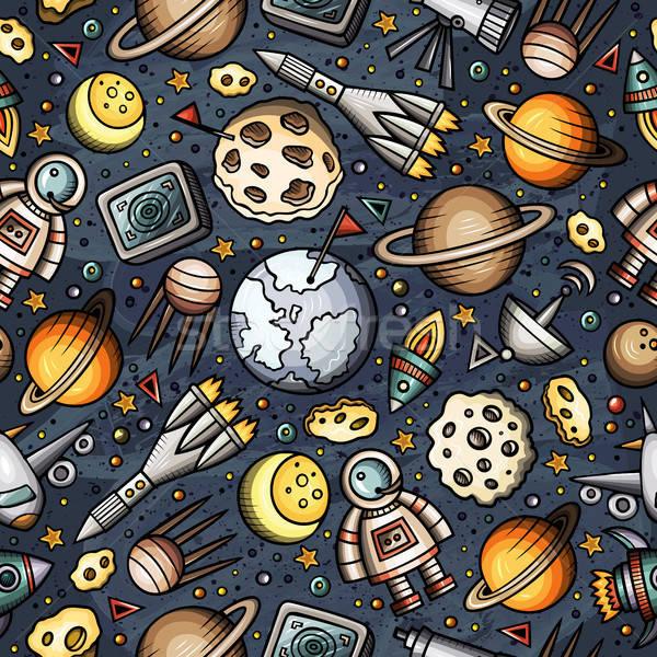 Karikatür uzay gezegenler semboller nesneler Stok fotoğraf © balabolka