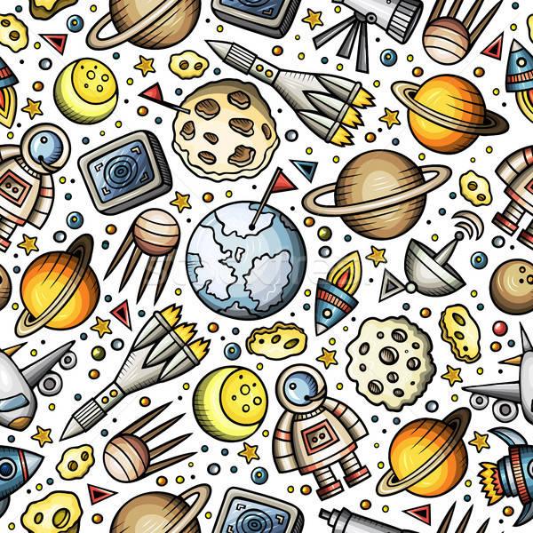 Desenho animado espaço planetas símbolos objetos Foto stock © balabolka