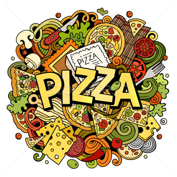 Stock photo: Cartoon cute doodles Pizza word. Colorful illustration