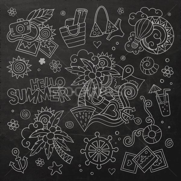 Zomervakantie schoolbord vector symbolen objecten Stockfoto © balabolka