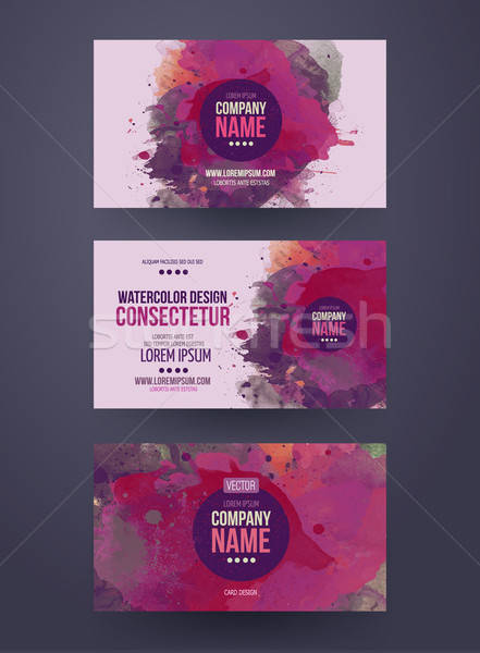 business cards with watercolor paint abstract background Stock photo © balabolka