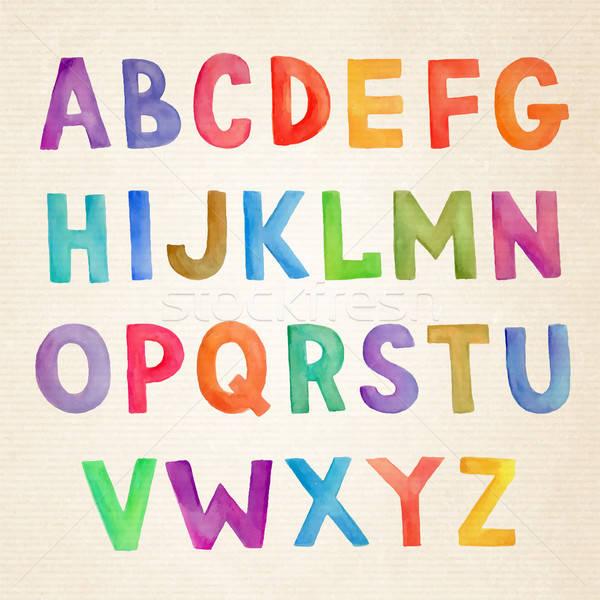 Vízfesték színes vektor kézzel írott ábécé kézzel rajzolt Stock fotó © balabolka