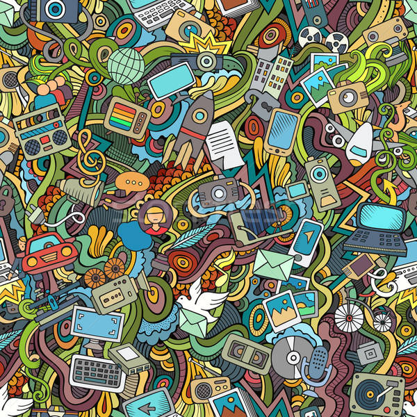 Cartoon vector social media internet technische Stockfoto © balabolka