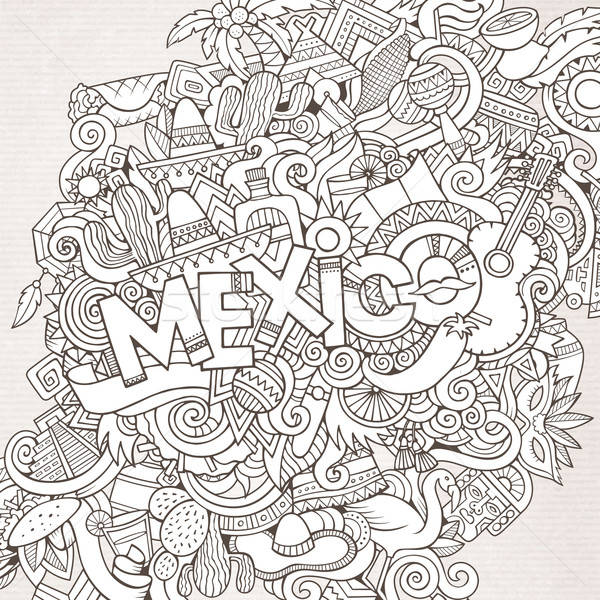 Mexico hand lettering and doodles elements background Stock photo © balabolka
