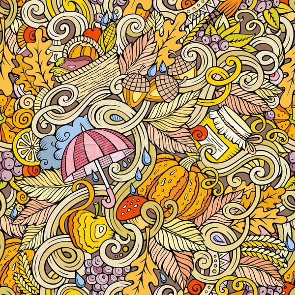 Rajz aranyos firkák ősz végtelen minta kézzel rajzolt Stock fotó © balabolka