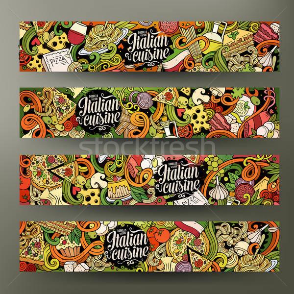 Cartoon итальянской кухни Баннеры Cute вектора Сток-фото © balabolka