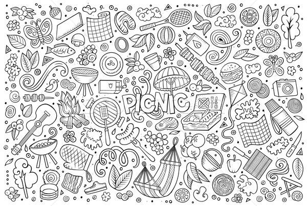 Foto d'archivio: Line · arte · vettore · set · picnic · oggetti