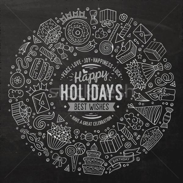 Conjunto férias desenho animado rabisco objetos linha Foto stock © balabolka