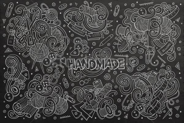 Line art vector hand drawn doodle cartoon set of handmade object Stock photo © balabolka