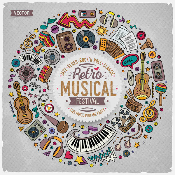 Ingesteld musical cartoon doodle objecten symbolen Stockfoto © balabolka