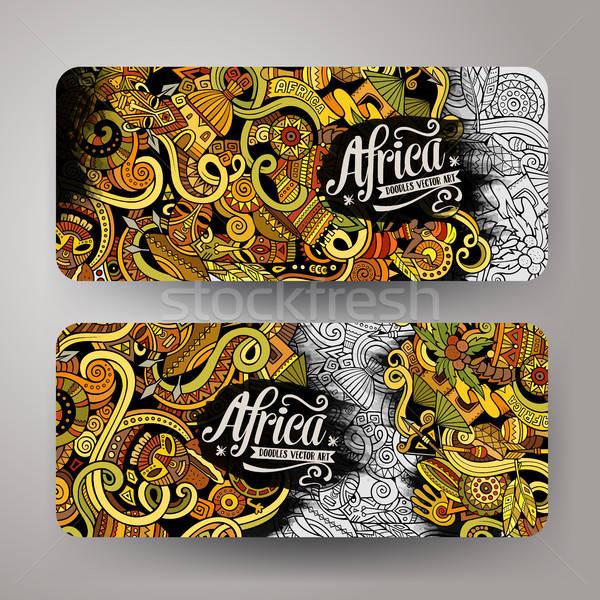Desenho animado bonitinho vetor África banners Foto stock © balabolka