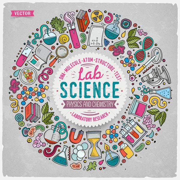 Szett tudomány rajz firka tárgyak szimbólumok Stock fotó © balabolka