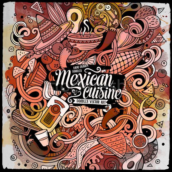 Cartoon Cute мексиканская кухня иллюстрация рисованной Сток-фото © balabolka