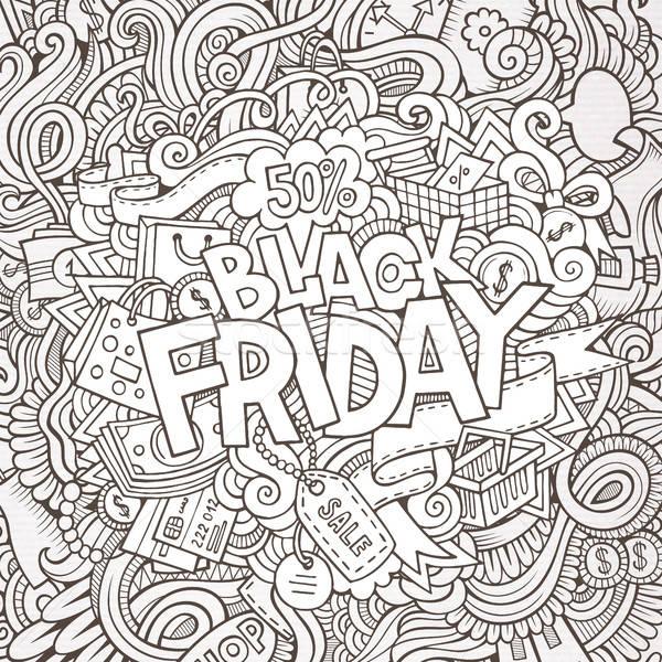 Cartoon Cute черная пятница рисованной Сток-фото © balabolka