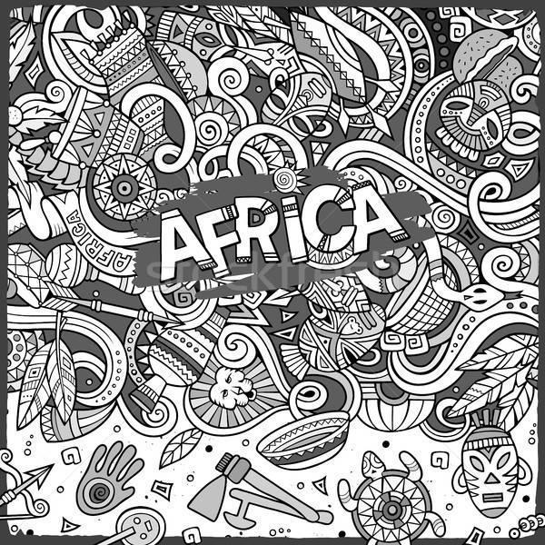 Stock fotó: Rajz · aranyos · firkák · Afrika · keret · kézzel · rajzolt