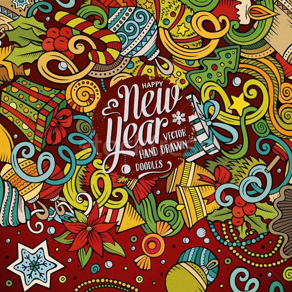 Cartoon cute garabatos feliz año nuevo marco dibujado a mano Foto stock © balabolka