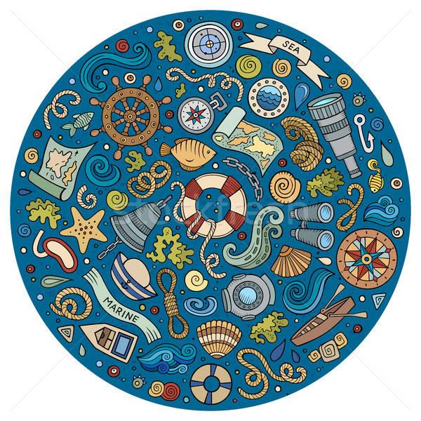Szett tengeri tengerészeti rajz tárgyak színes Stock fotó © balabolka
