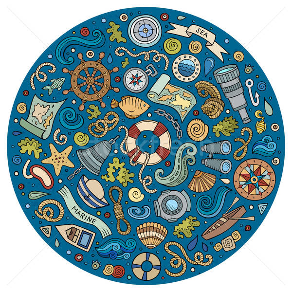 Marines nautique cartoon objets coloré Photo stock © balabolka