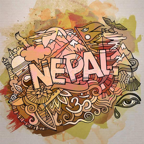 Cartoon cute doodles hand drawn Nepal inscription Stock photo © balabolka