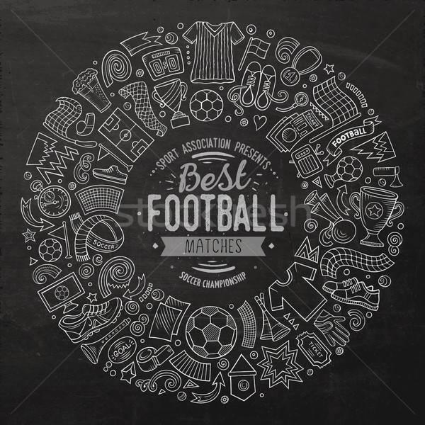 Stock photo: Set of vector cartoon doodle Football objects