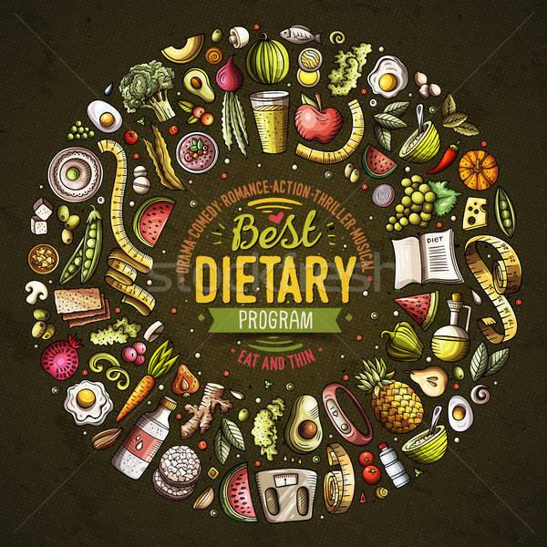 Set vettore cartoon doodle dieta alimentare Foto d'archivio © balabolka