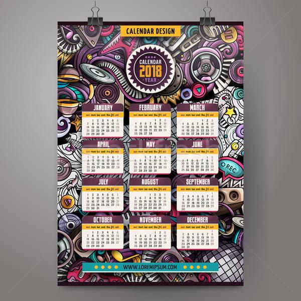 Stock photo: Cartoon colorful hand drawn doodles Disco music 2018 year calendar
